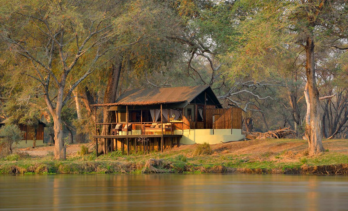 Exterior river view of guest suite at Old Mondoro, Lower Zambezi National Park, Zambia