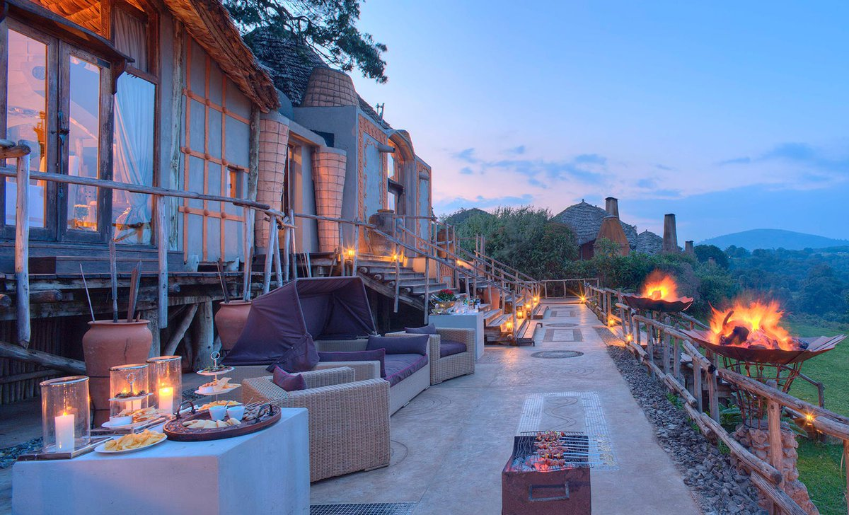 Veranda at night at Ngorongoro Crater Lodge