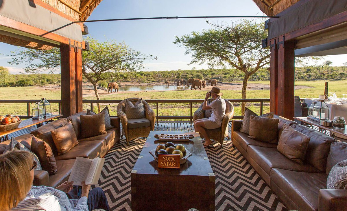 Open lounge view to waterhole and elephants at Jamala Madikwe