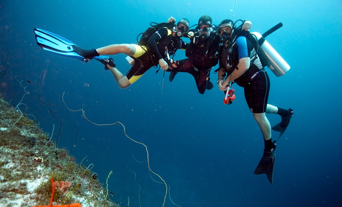 Scuba divers floating above coral reef at Baraza Resort & Spa in Zanzibar