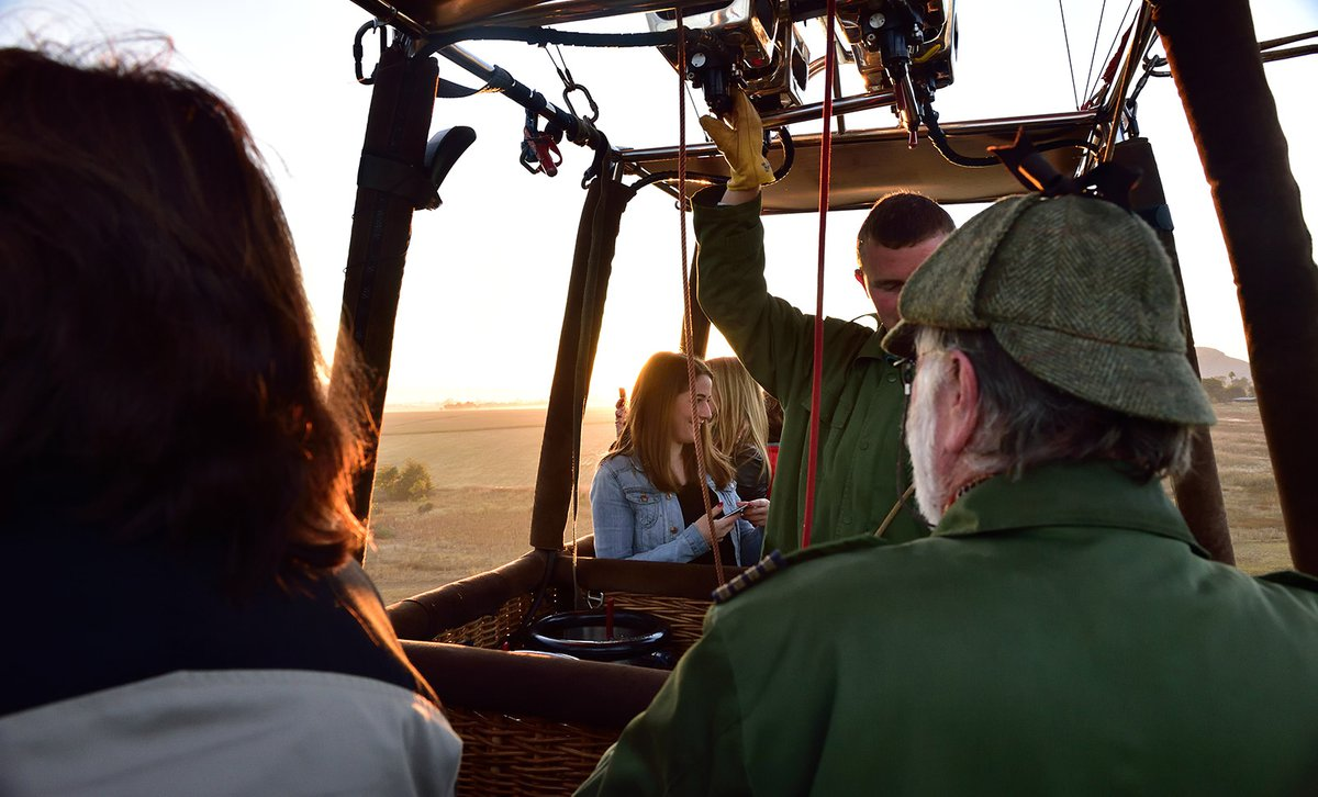 Family in hot air balloon