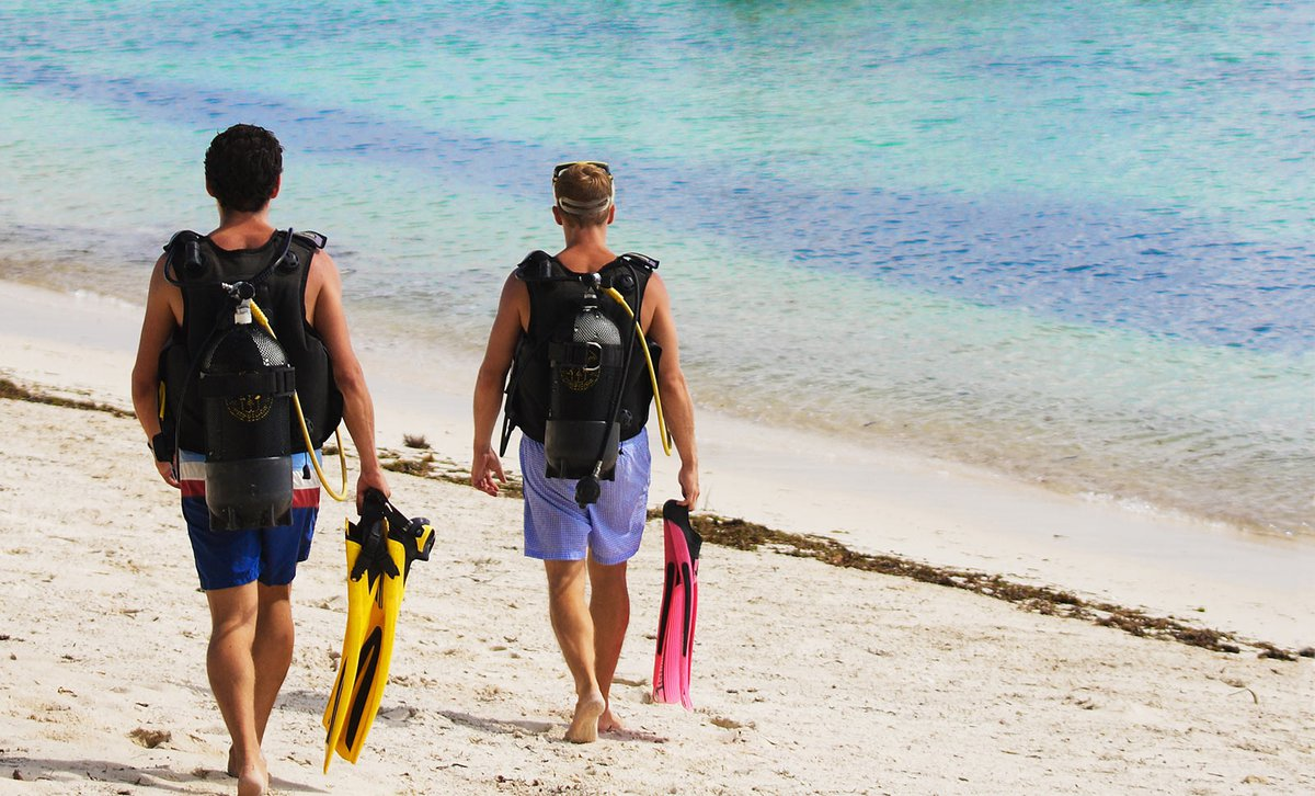 teenagers walking to ocean with diving gear on