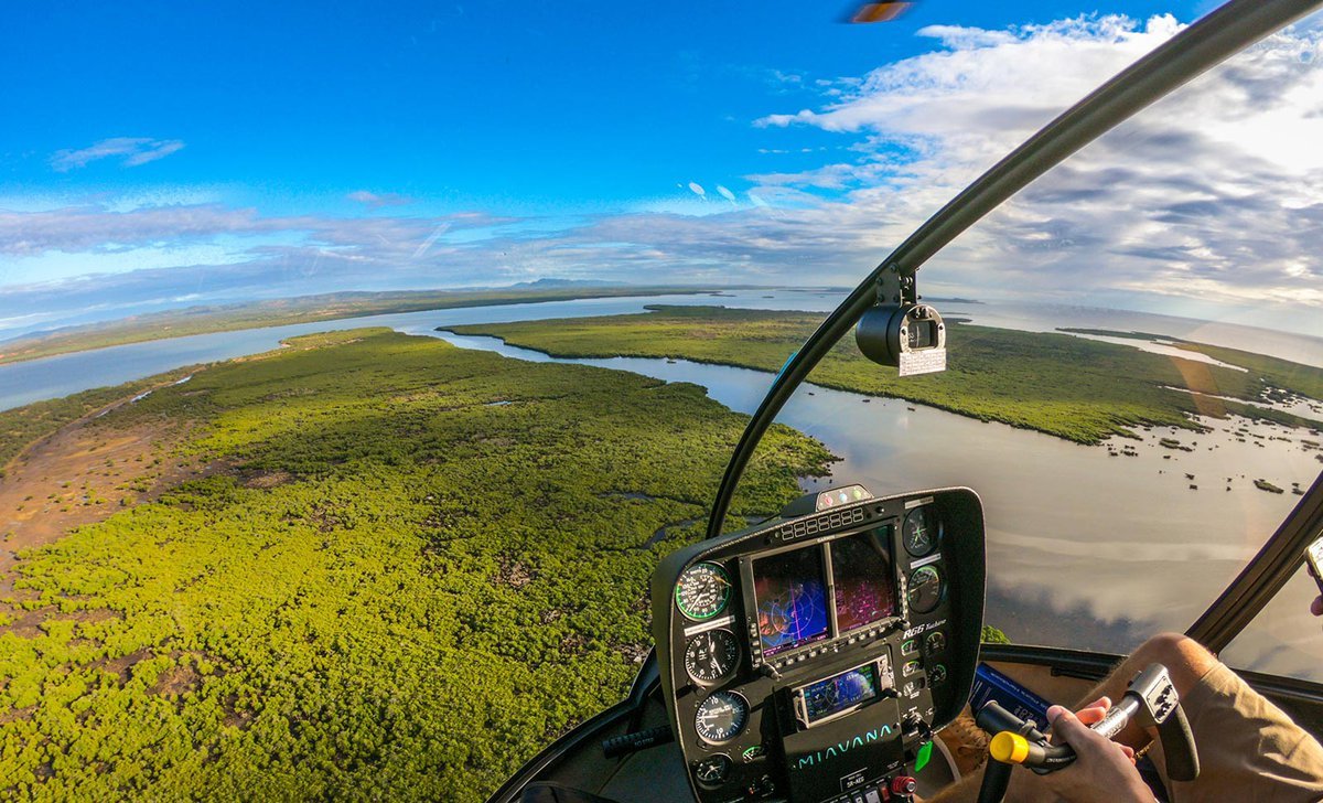 Helicopter flight over Nosy Ankao from Miavana in northern Madagascar