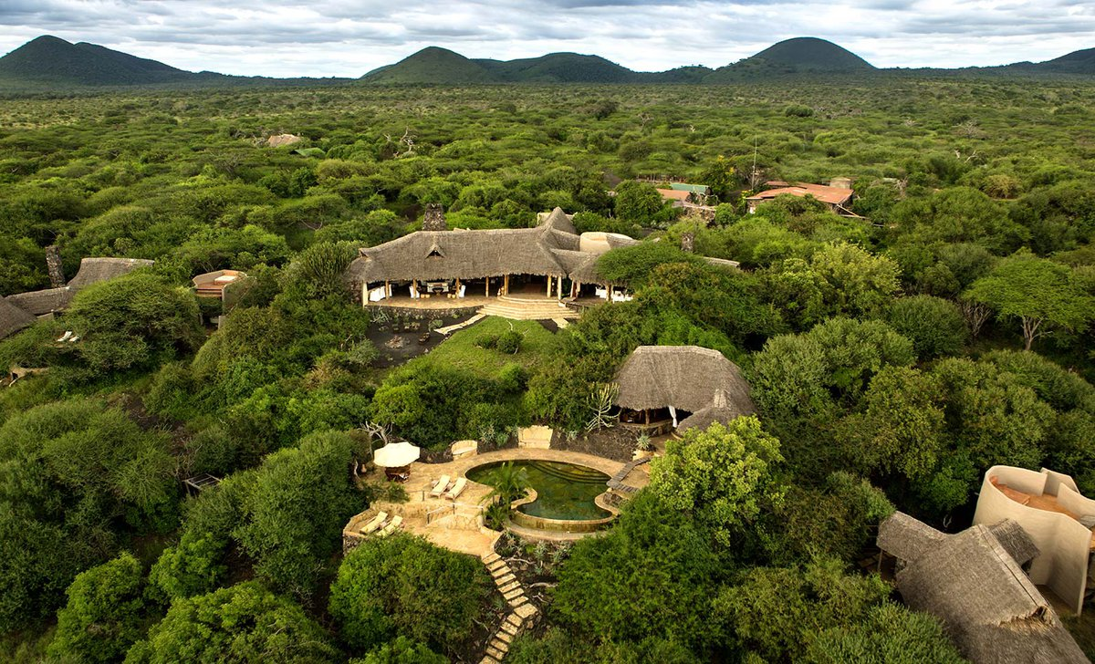 Aerial view of Ol Donyo Lodge exterior