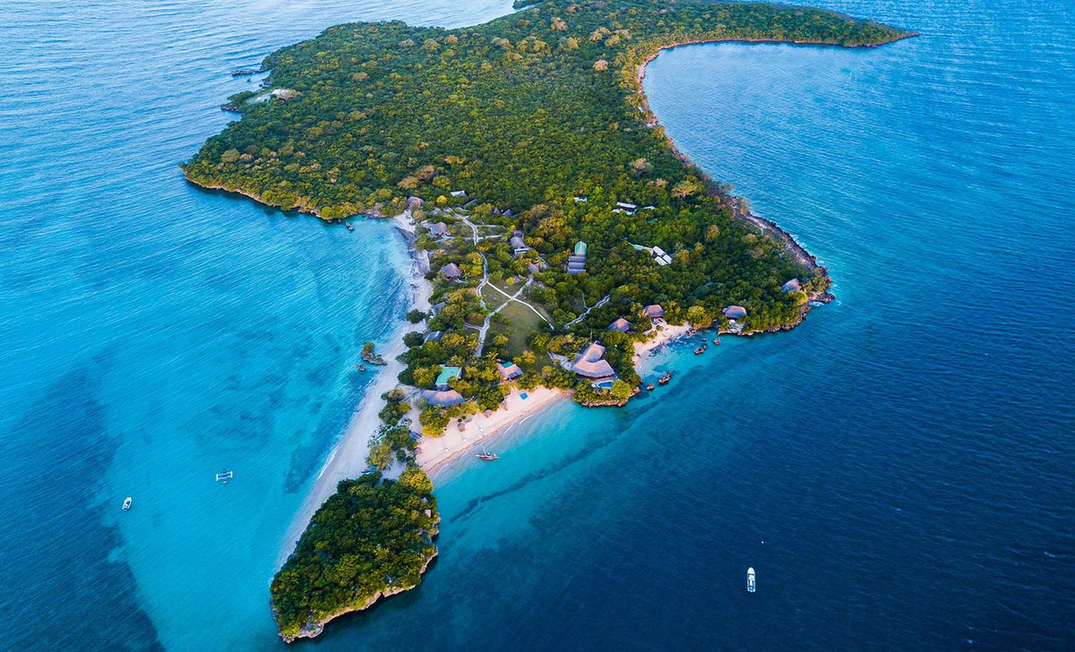 Aerial view photo of Azura Quilalea tropical private island resort