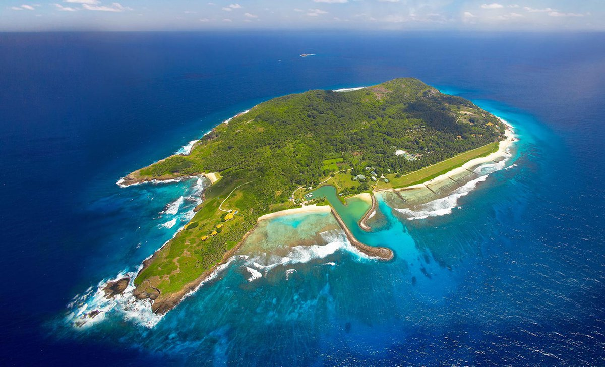 Aerial view of Freegate Island, Seychelles.