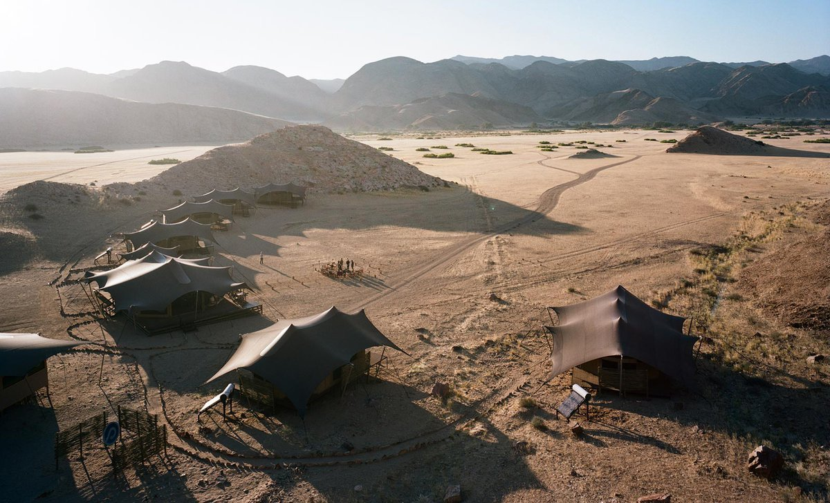Aerial view of Hoanib Valley Camp, Skeleton Coast, Namibia.