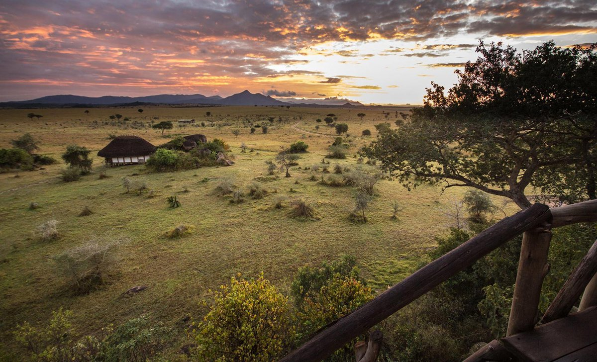 Deck view of Kidepo Valley National Park savannah from Apoka Lodge
