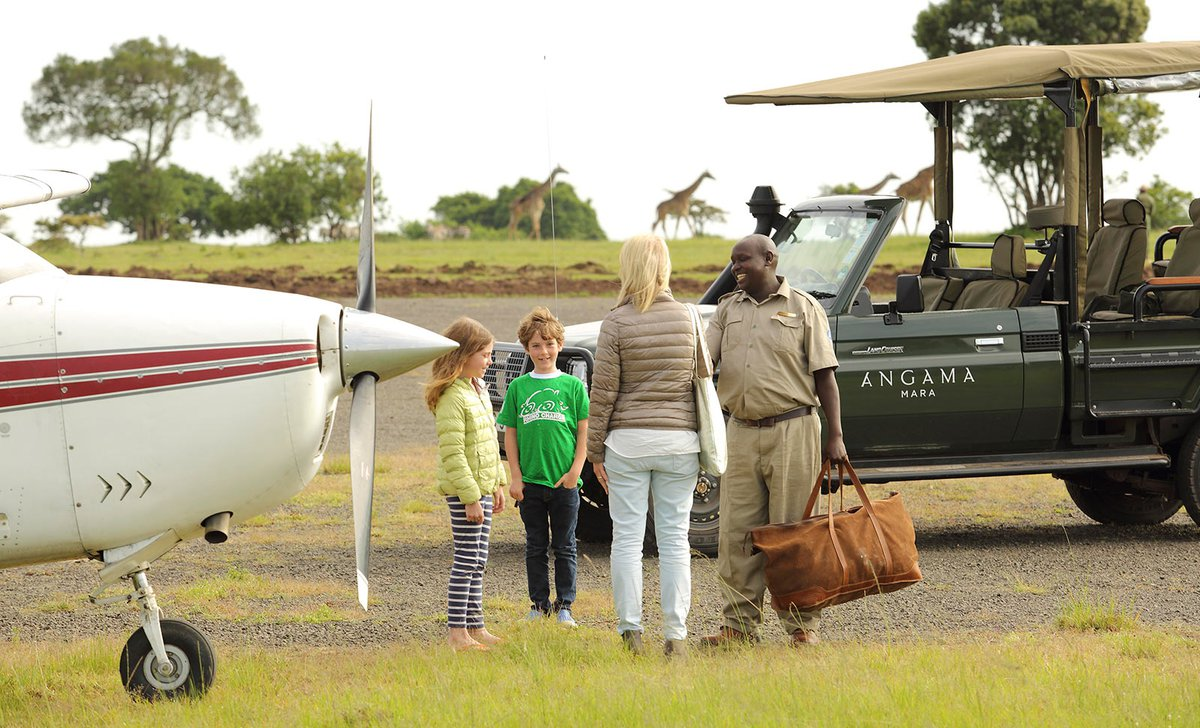 Family arrival for safari in Kenya