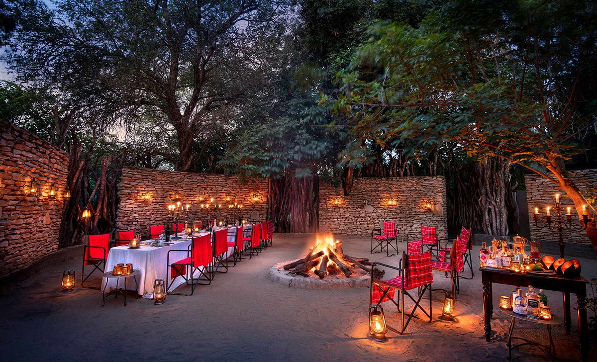 Boma dining, Chitwa Chitwa, Greater Kruger Region, South Africa.