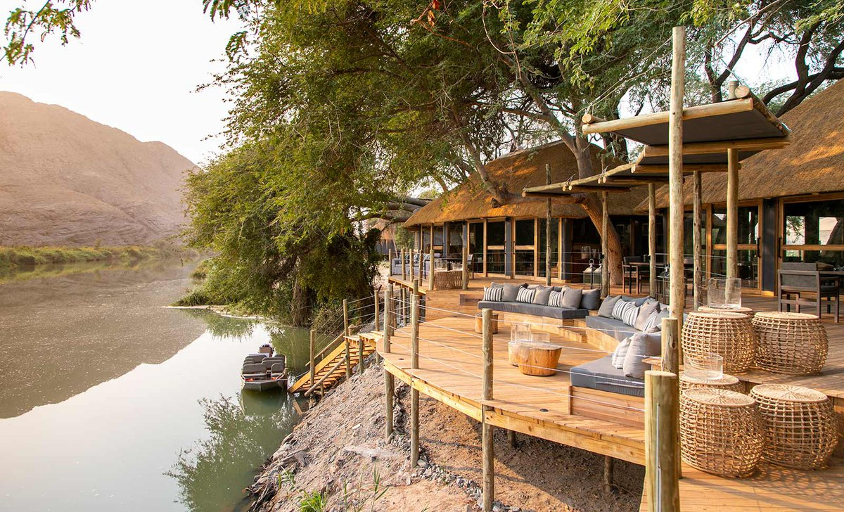 Deck by the river at Serra Cafema, Namibia.