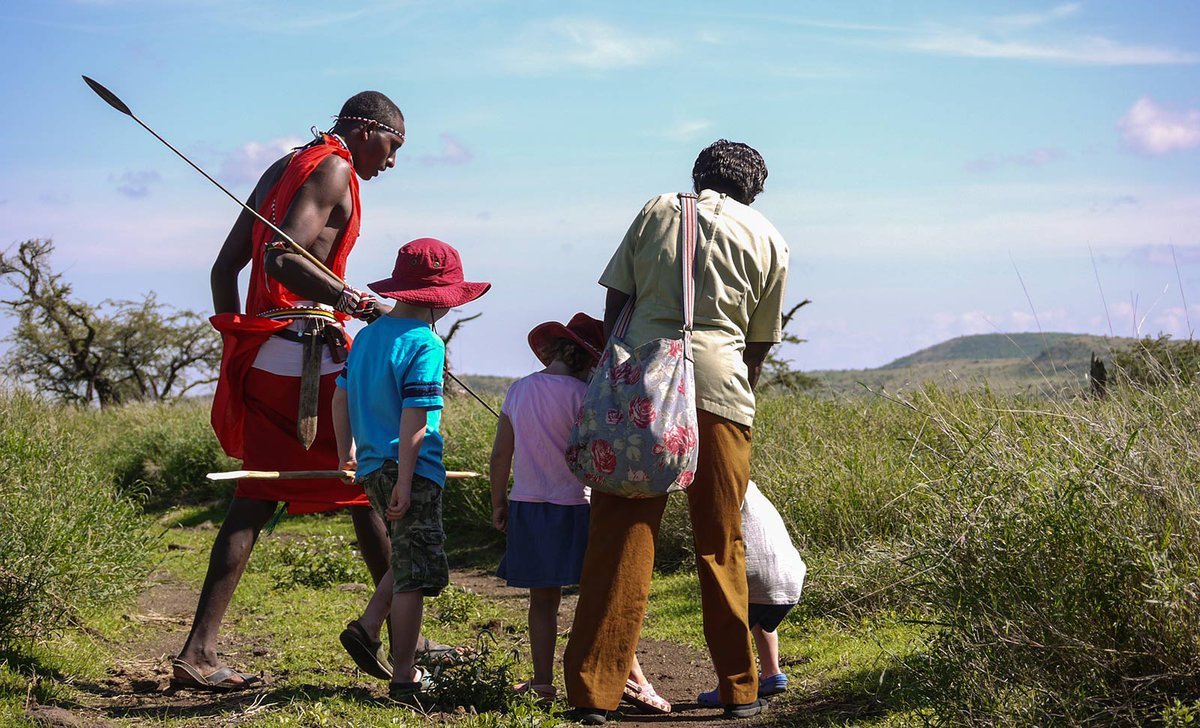 Family with Maasai warrior