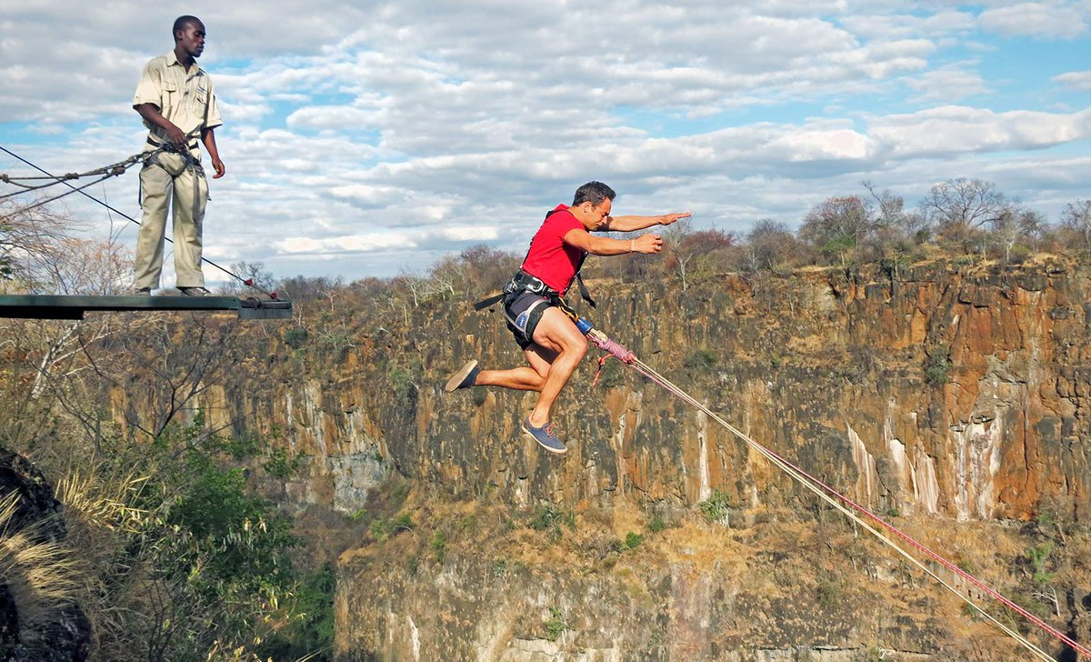 Bungee jump in gorge near Victoria Falls