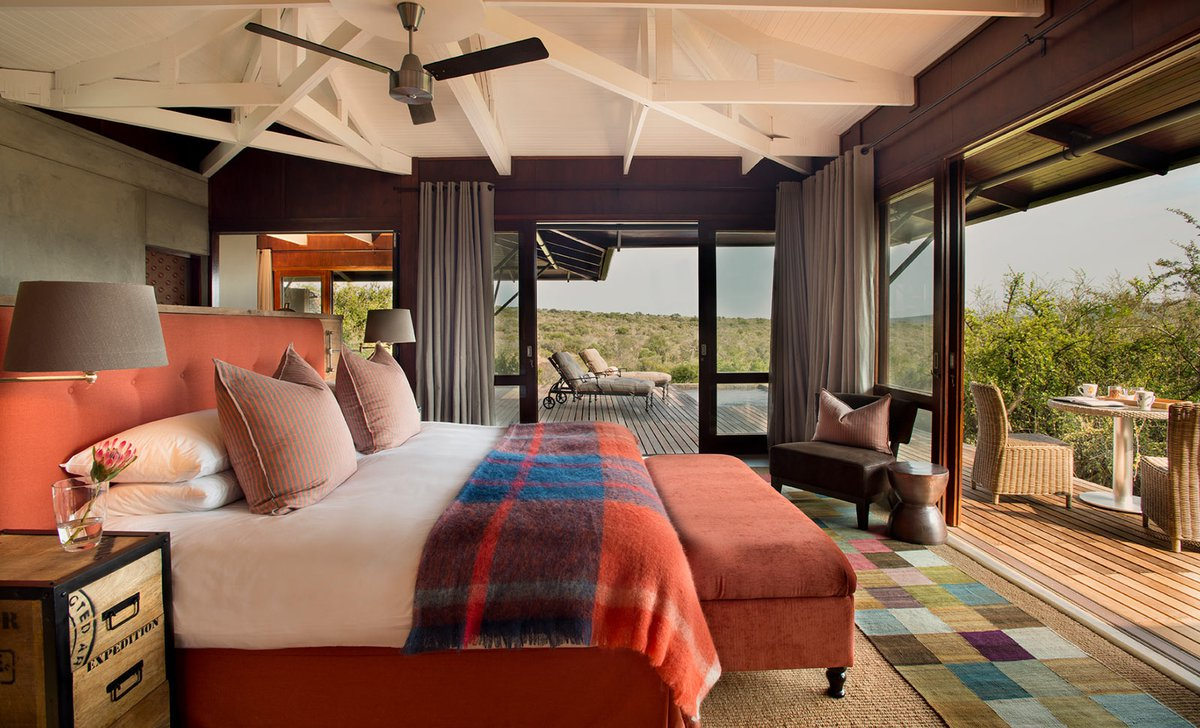 Bedroom interior of luxury family suite at Kwandwe Ecca Lodge Eastern Cape South Africa