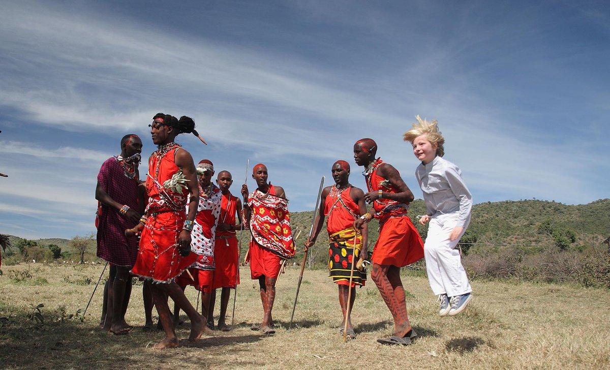Boy learning Maasai jumping ceremony