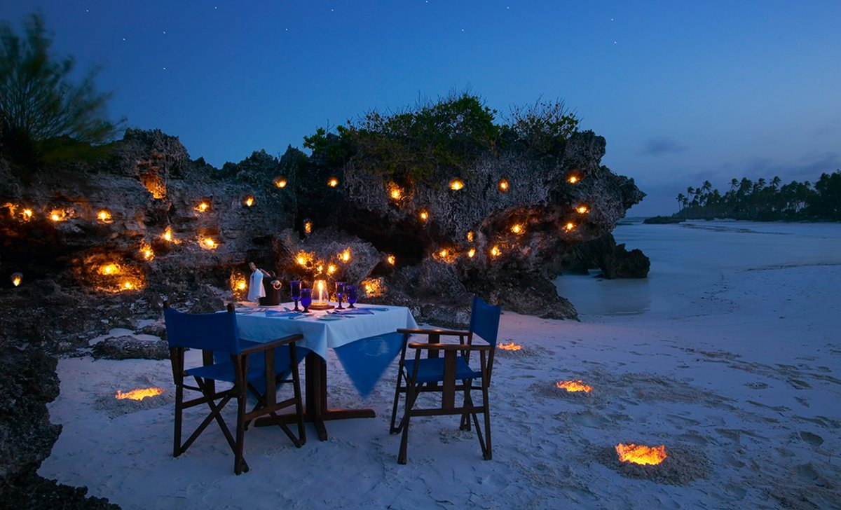 Beach dining at Matemwe.
