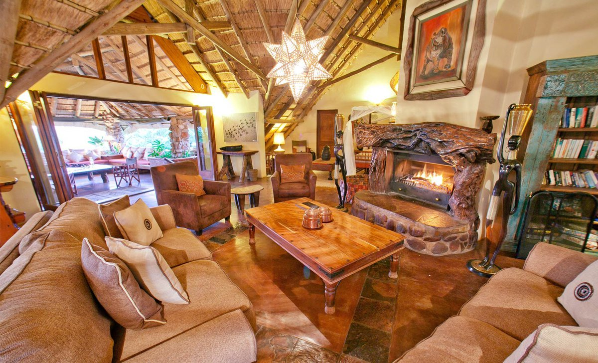 Interior of lounge at Ant's Nest safari lodge in Waterberg