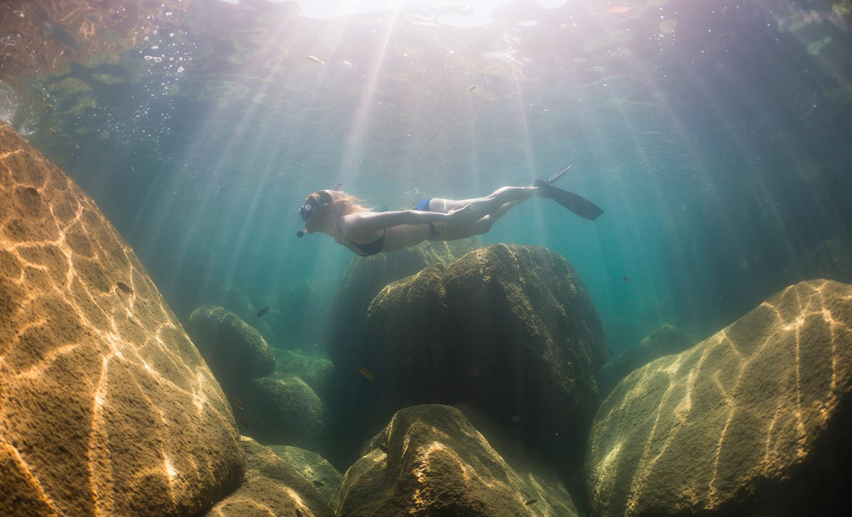Snorkelling the crystal clear waters of lake malawi