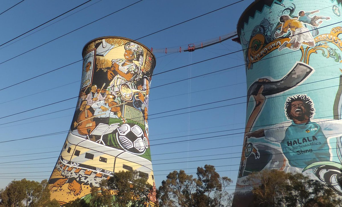 Culture painted towers in Soweto