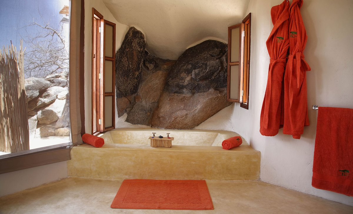 Built in bathtub carved from local stone