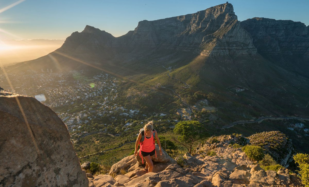 Woman hiking around Cape Town
